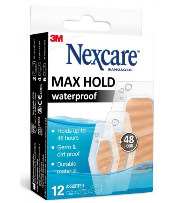 NEXCARE MAX HOLD WATERPROOF 12τμχ.